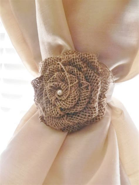curtain tie back height burlap rose curtain tie back choose your size and color