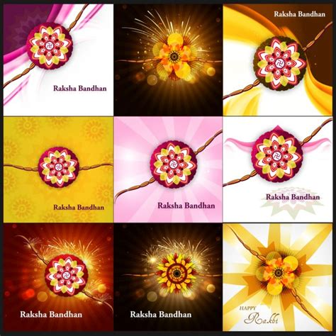 raksha bandhan card template set of abstract raksha bandhan cards vector free