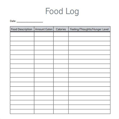 food logs templates log template documents in pdf word excel