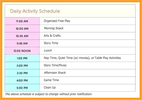 family schedule template images template design ideas
