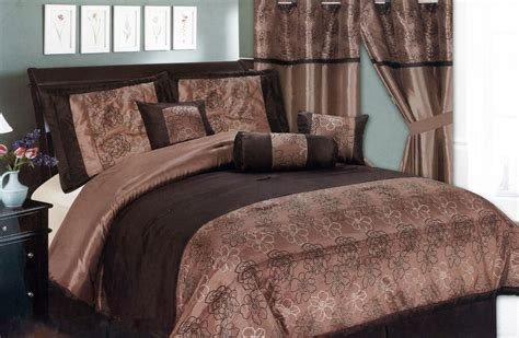 chocolate brown comforter sets 7 pc satin striped assorted flower floral comforter set