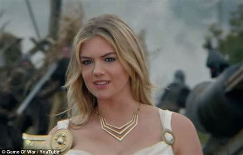 actress game of war commercial kate upton dresses as a very sexy athena in new advert for