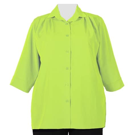 Sleeve Green Lime lime green 3 4 sleeve plus size tunics