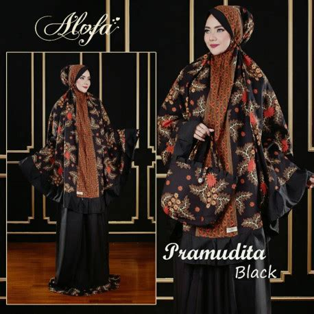 Zahranaa Mukena Arraya 06 Black Pink mukena pramudita black pusat grosir baju muslim