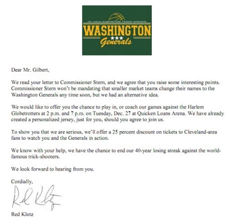 Invitation Letter Sle For Basketball League Washington Generals Invite Dan Gilbert To Play Or Coach For Them In Exhibition Larry Brown Sports