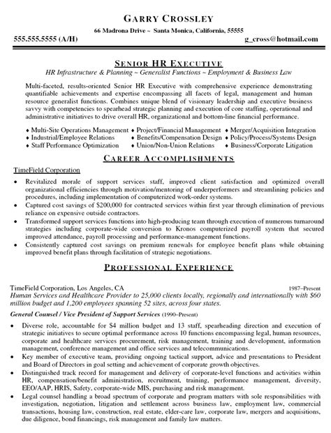 in house counsel resume exles
