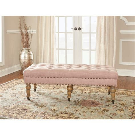 home decor benches linon home decor isabelle washed pink bench 368253pnk01u