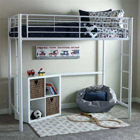 twin size loft bed walker edison steel twin size loft bed white btolwh