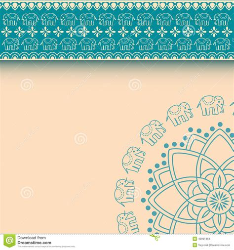 asian henna elephants blue and cream border design with