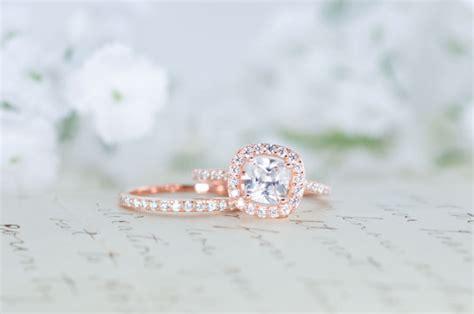 Vintage Verlobungsring by Halo Wedding Ring Set Cushion Cut Ring Engagement Ring