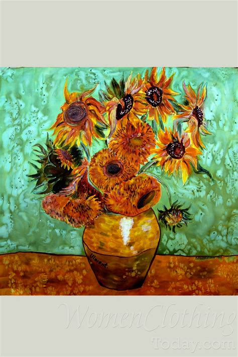 silk painting the vase with 12 sunflowers