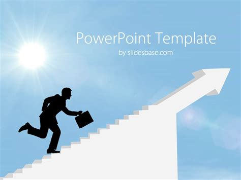 success powerpoint templates businessman climbing stairs powerpoint template slidesbase