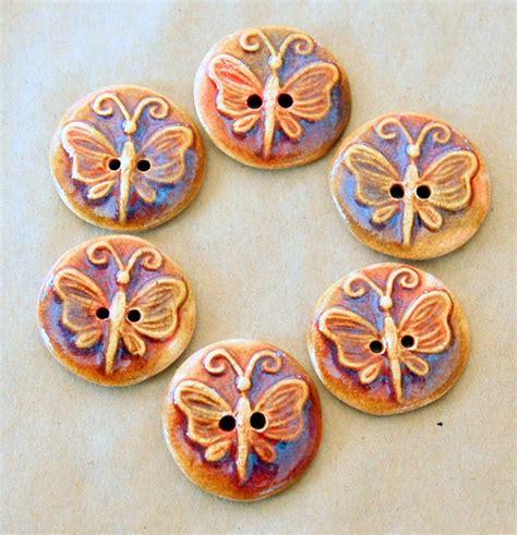 Handmade Ceramic Buttons - 6 handmade ceramic buttons butterfly buttons in golden