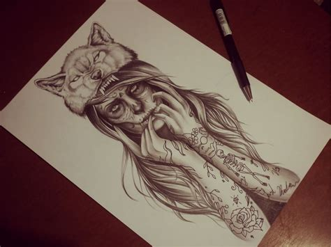 girl design tattoos wolf design by matthew barnett