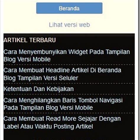cara membuat blog versi mobile eltelu cara menilkan widget pada blog versi mobile