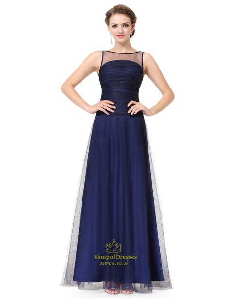 boat neck dress navy navy blue boat neck sheer ruched evening dress with