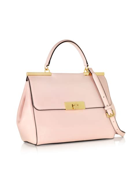 michael kors marlow large leather satchel bag in pink lyst