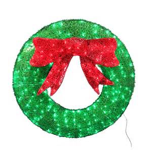 Outdoor Lighted Wreath Living 36 In Pre Lit Indoor Outdoor Green Wreath With Led Lights Lowe S Canada