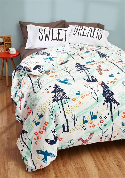 modcloth bedding woods you tuck me in duvet cover in full queen embrace