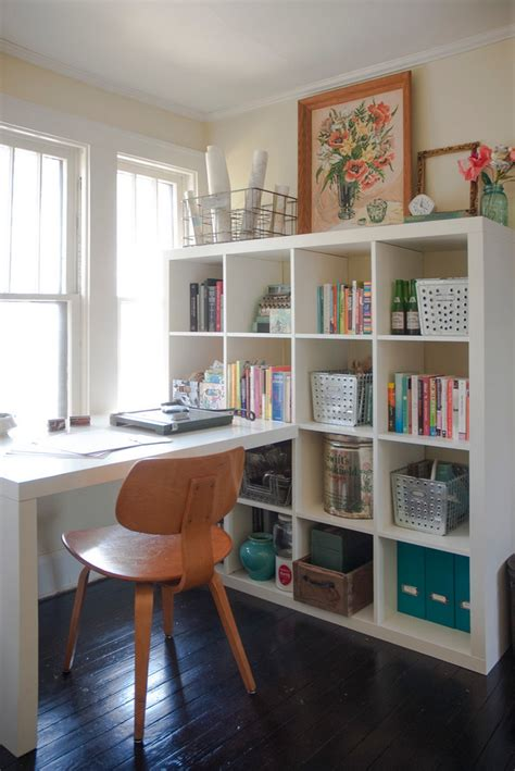 ikea billy bookcase and desk combination in white study