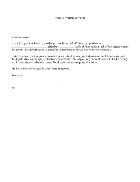 termination letter sle lack of work termination letter sle lack of work 28 images