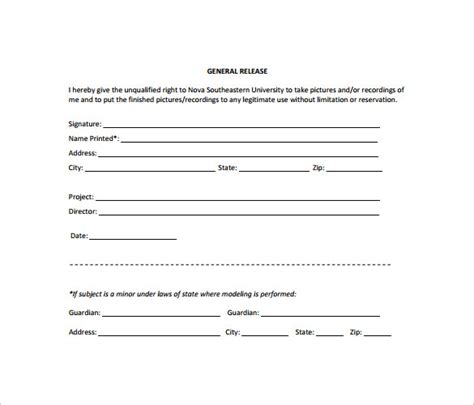 10 Sle General Release Forms To Download Sle Templates Free General Release Form Template