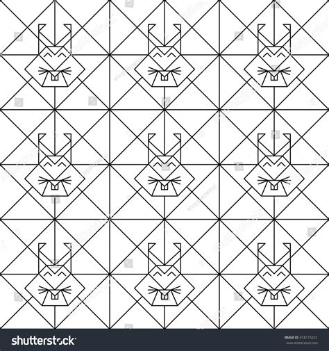 pattern low poly vector polygonal seamless pattern animal heads animals stock
