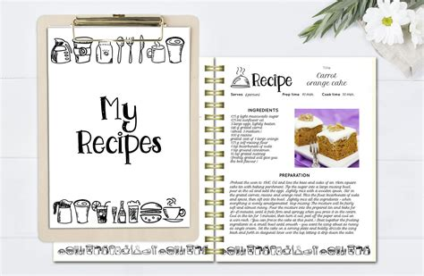 template for cookbook black and white recipe book template editable recipe