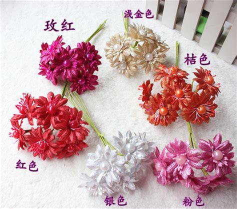 Handmade Flower Bouquets - 4cm handmade silk gerbera flowers artificial gold