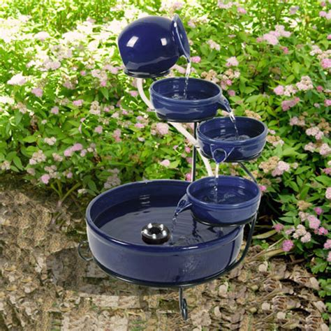 Solar Powered Water Features With Led Lights Solar Powered Blue Terracotta Cascade With Led Light