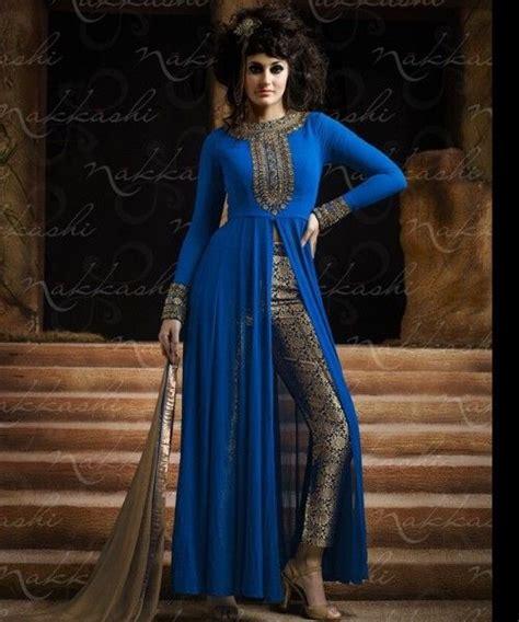 punjabi open front open slit embroidered salwar suit by nakkashi