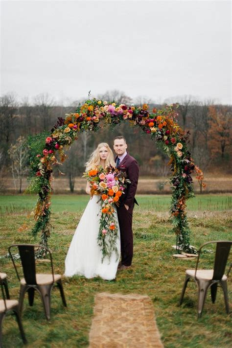 outdoor fall wedding arch  altar ideas   puff