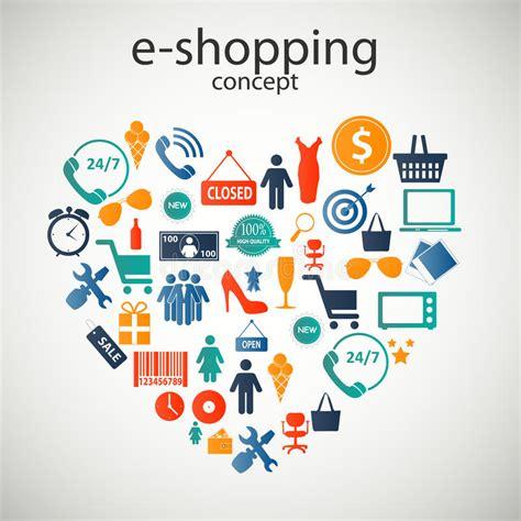 i love shopping icon and concept stock vector e shopping concept icons vector illustration stock vector