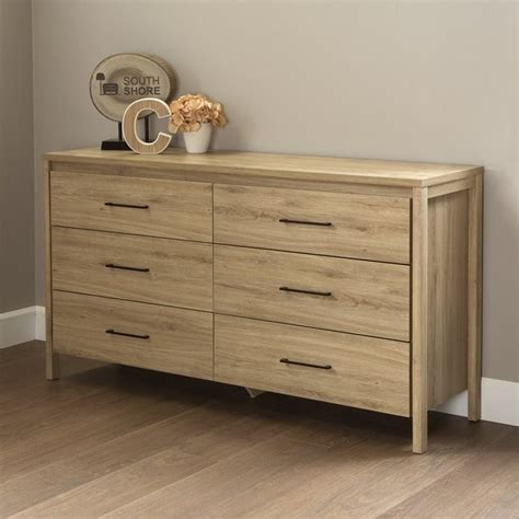 Wood Bedroom Dresser South Shore Gravity 6 Drawer Wood Dresser In Rustic Oak 9068010
