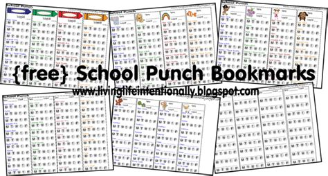 punch card template for school free school punch cards