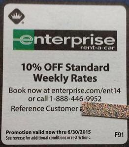 Enterprise Rental Gift Card - enterprise coupon 10 off weekly rates car rental rent a car thru 6 30 15 ebay