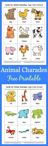 printable animal walk cards animal charades for kids free printable buggy and buddy