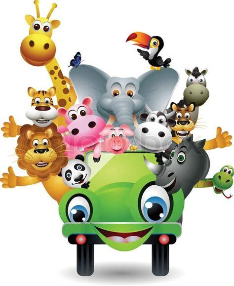 safari jeep cartoon vector illustration of animal cartoon on green car stock