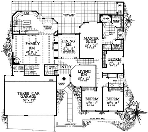 adobe home floor plans pueblo style ranch home plan 81387w 1st floor master