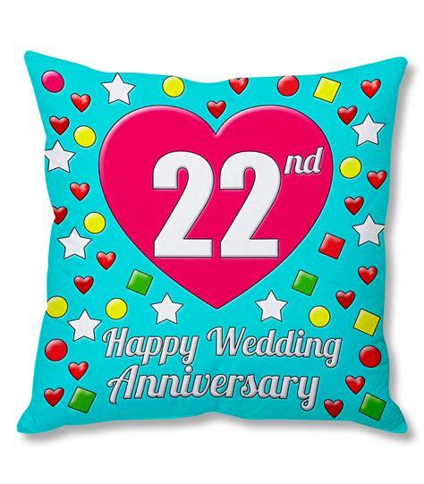22nd happy wedding anniversary multi colour printed