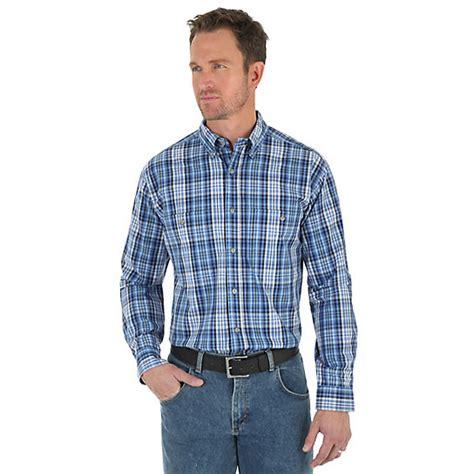 Atasan U063 Plaid Collar Sleeve s wrangler rugged wear 174 sleeve button collar plaid shirt big mens