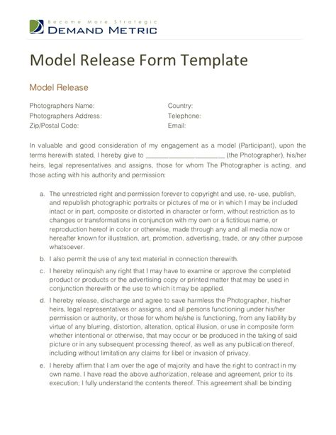Model Release Form Template Model Photo Release Form Template