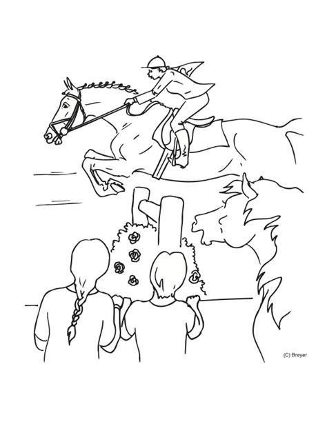 coloring pictures of horses jumping equestrian coloring page