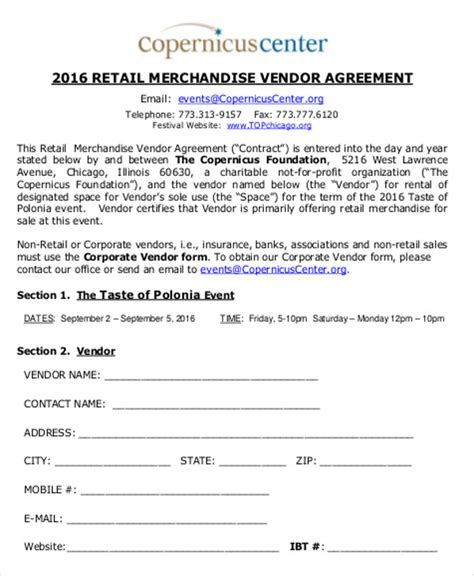 vendor agreement template contract sle vendor contract agreement 8 exles in word pdf