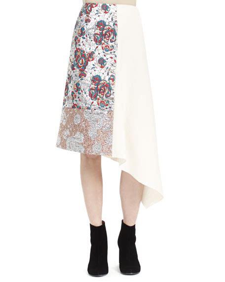 stella mccartney brocade patch midi skirt winter white
