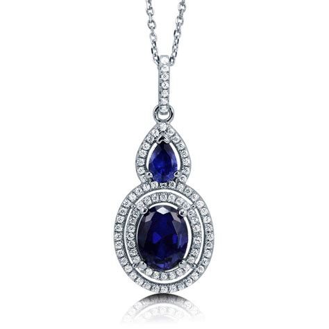 berricle sterling silver oval simulated blue sapphire cz