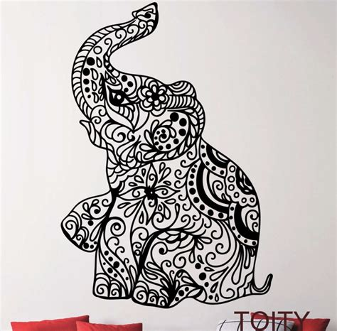 Peacock Feather Home Decor elephant baby tattoo cute vinyl wall decal sticker art