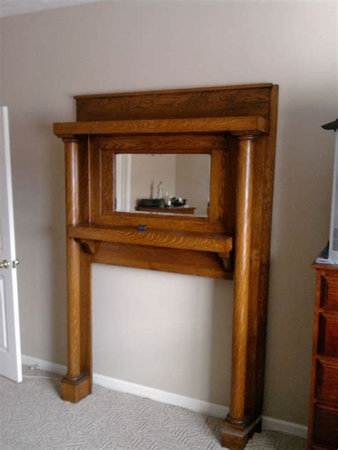 Mirrors Fireplace Mantels by Oak Antique Mantel With Mirror Architectural Salvage