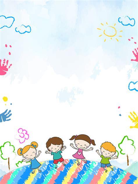 Cartoon Kids Kindergarten Opening Season Poster Background