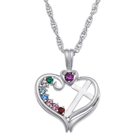 Birthstone Jewelry by Sterling Silver Birthstone Cross Necklace 38331